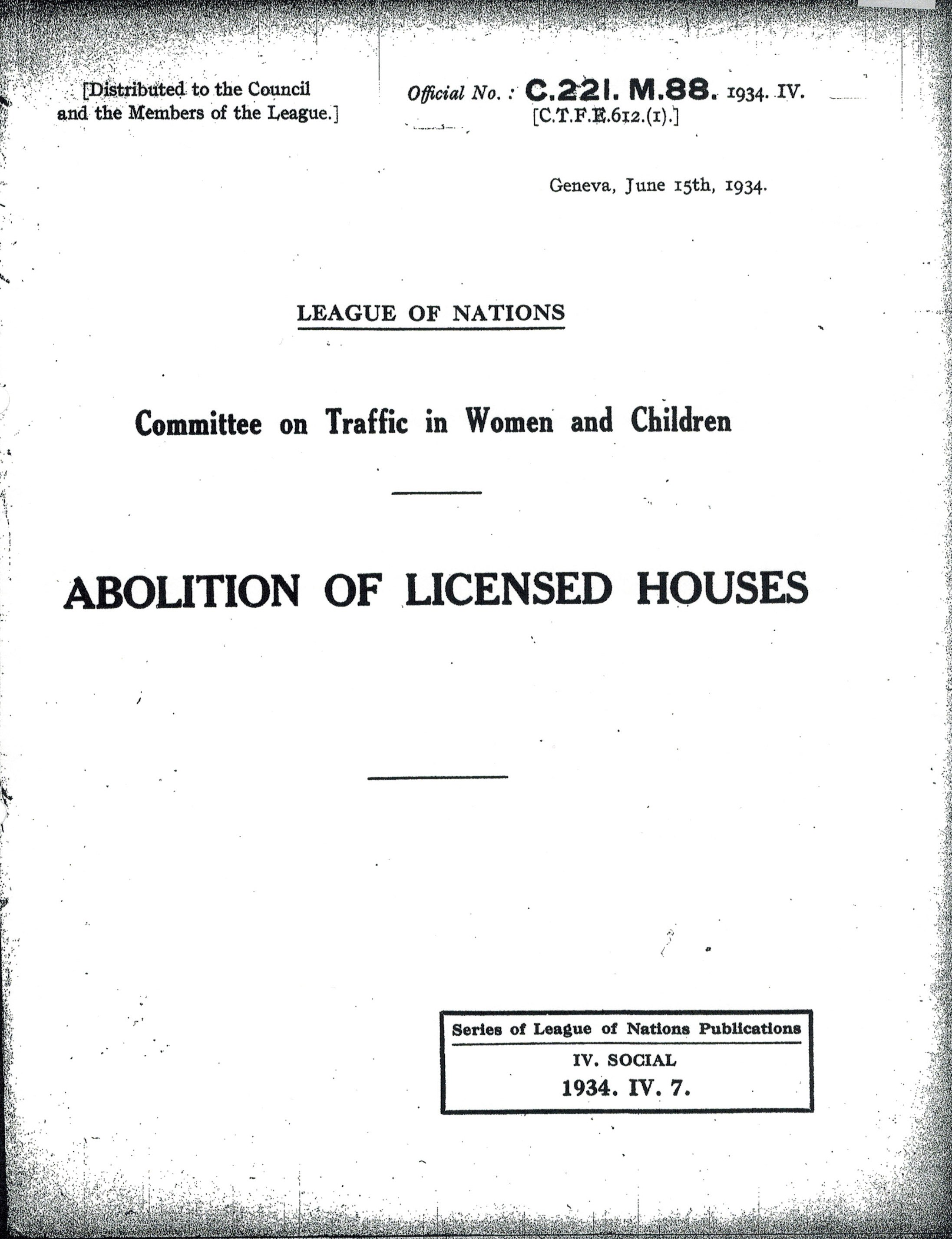 Abolition of Licensed Houses表紙